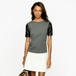 J. Crew 04692 Leather Sleeve Top Gray Size Small